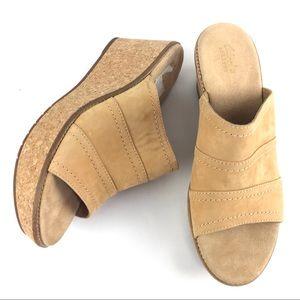 Clarks Tan Cork Heel Platform Wedge Sandals, 10